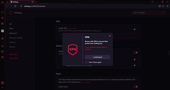 Screenshot Opera GX VPN