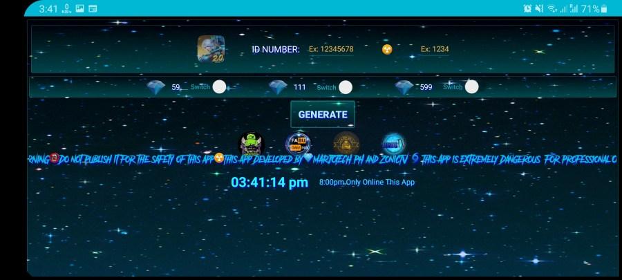 Screenshot of Diamond Generator App