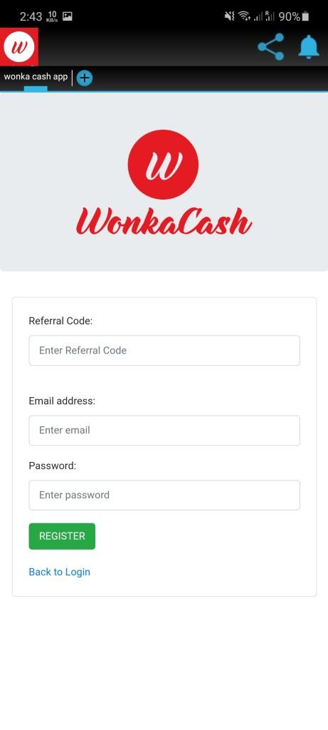 Screenshot of Wonka Cash Legit