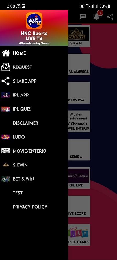 Screenshot of HNC Sports Live TV App
