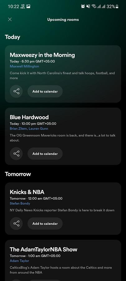Screenshot of Spotify GreenRoom Download