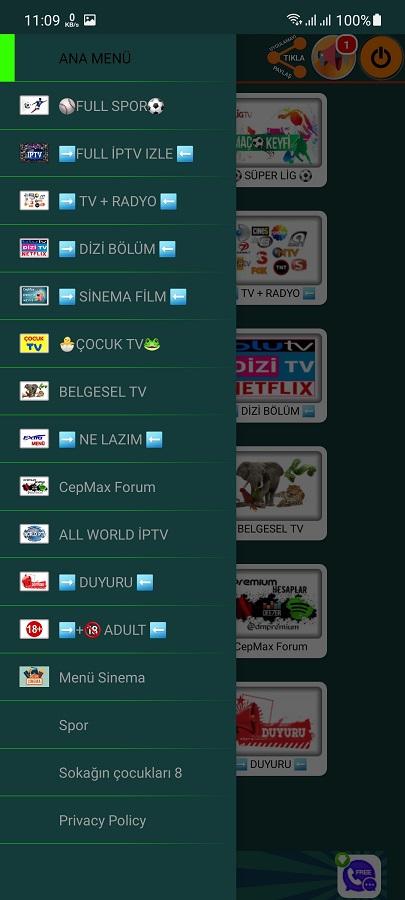 Screenshot of Cepmax TV App