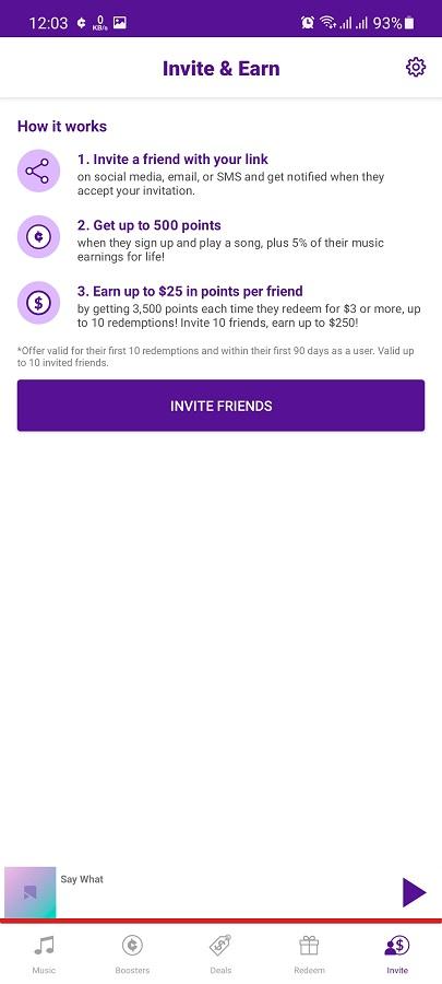 Screenshot of Current Reward App