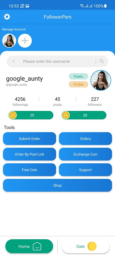 Screenshot of FollowerPars App