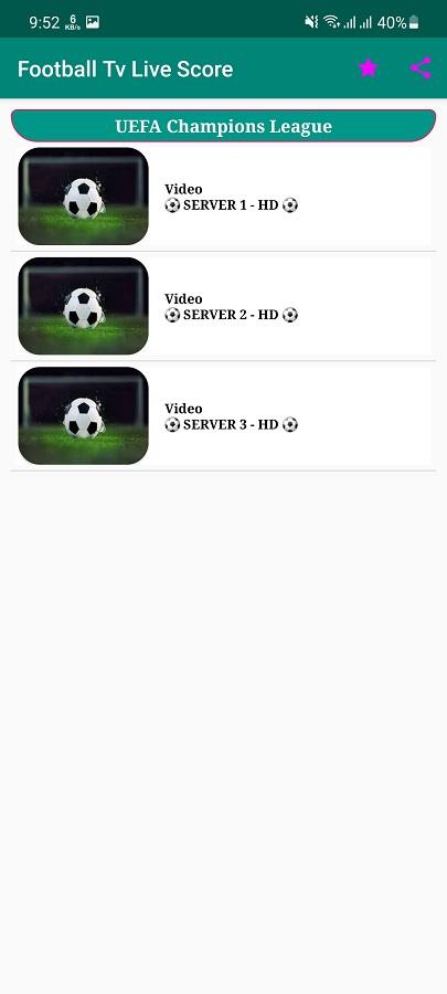 Screenshot of Football Live Score TV App