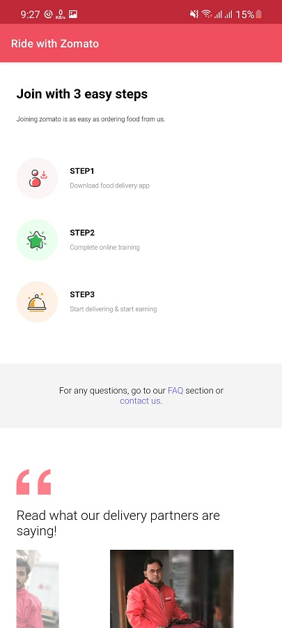 Screenshot of Zomato Delivery Partner Download