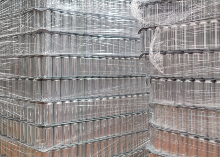 Empty beer cans at the brewery