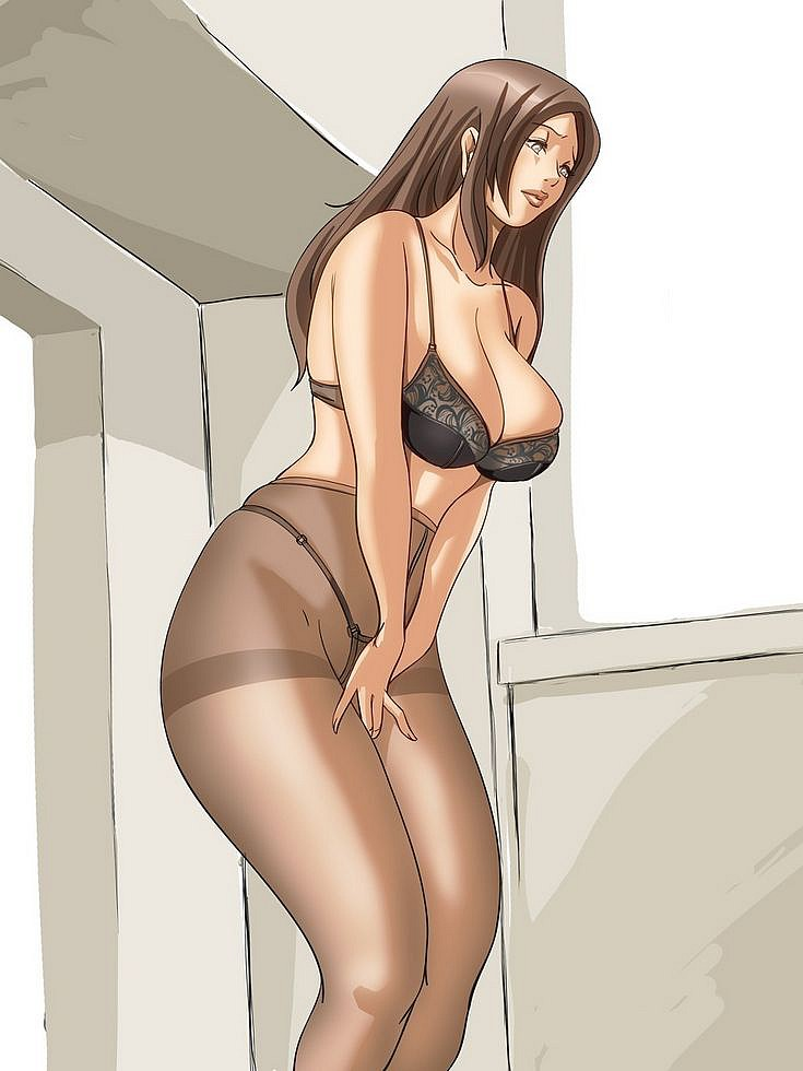 Drawing of MILF in grey tights  Lust Pantyhose