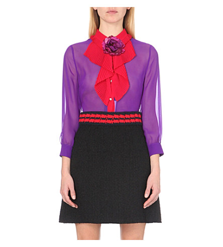 Gucci Ruffled Silk-chiffon Shirt