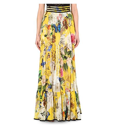 Roberto Cavalli Botanical Print Silk Maxi Skirt