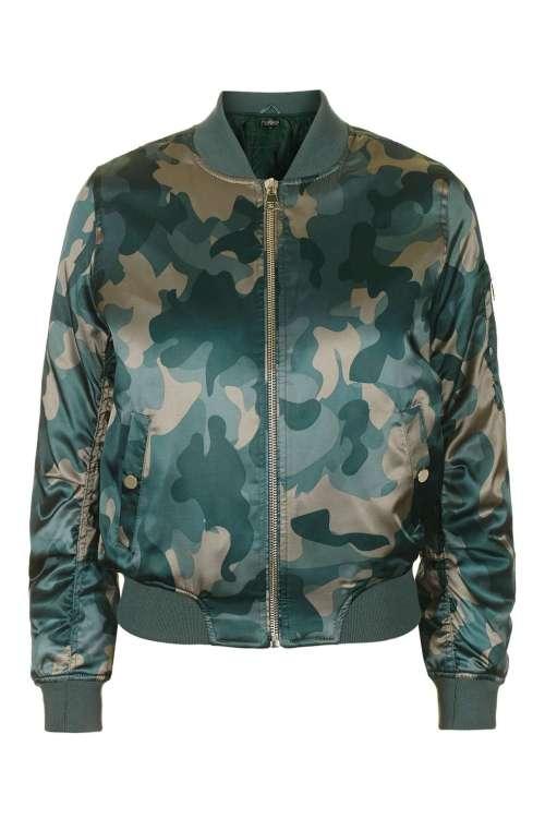 Topshop Shiny Camo Print MA1 Bomber Jacket