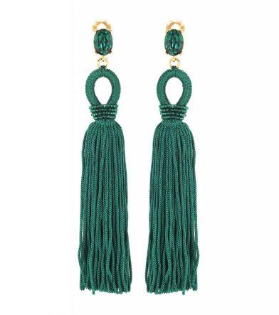 Oscar de la Renta Tassel Long Silk Clip-on Earrings