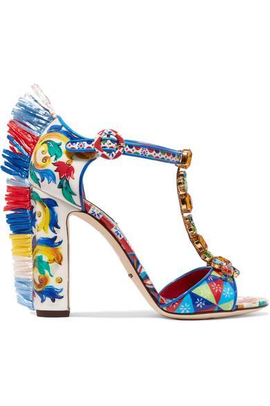 Dolce & Gabbana Bianca Raffia-trimmed Embellished Printed Patent-leather Sandals
