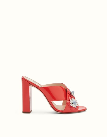 Fendi Red Patent Leather Mules with Flowers