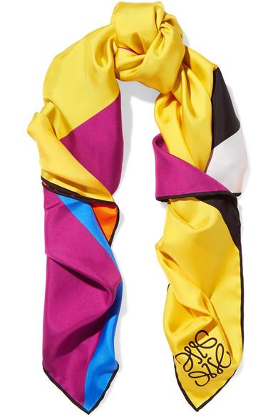Loewe Striped Silk-twill Scarf