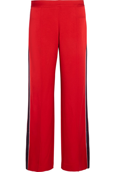 Mother of Pearl Frona Striped Satin Straight-leg Pants