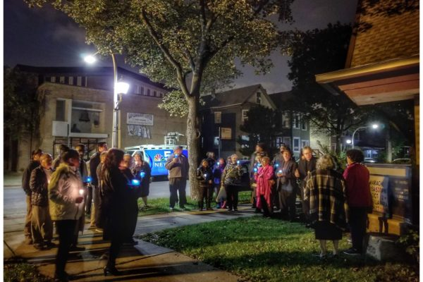 Peace Vigil in front of news truck at Encuentro 2018