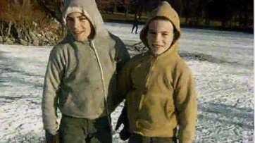 Scott (left) and Roger hit the fish-hatchery ice for some sporty winter skating fun. Not sure if muscle shirts are under those hoodies