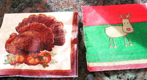 Basically, I switch my turkey napkins for my reindeer ones. I'll drink to that!