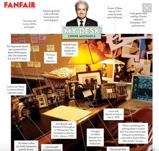 Vanity Fair used to do these features on famous people's desks. Here's Lorne Michaels', from, I think 2007, featuring Steve's photo, among other things