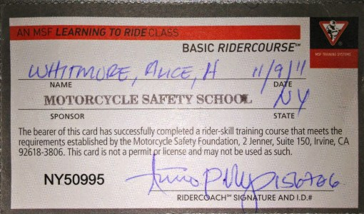This was my prize: a certificate showing that I'd passed the course -- including the road test (!)