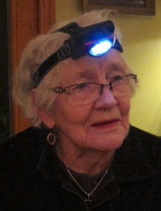 My mother (for some wacky reason), wearing a miner's lamp. (I don't have a photo of The Dude wearing his)