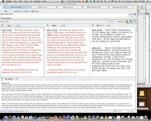Workspace for Exaudi using Accordance Bible.