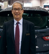 Larry Hirabayashi, with the Infiniti JX35, greeted customers. Hirabayashi used to sell Chrysler products and particularly enjoys selling pre-owned vehicles.