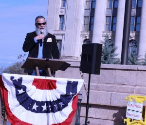 EOC resident Paul Crouch speaks at a March anti-turnpike rally at the Oklahoma Capitol.