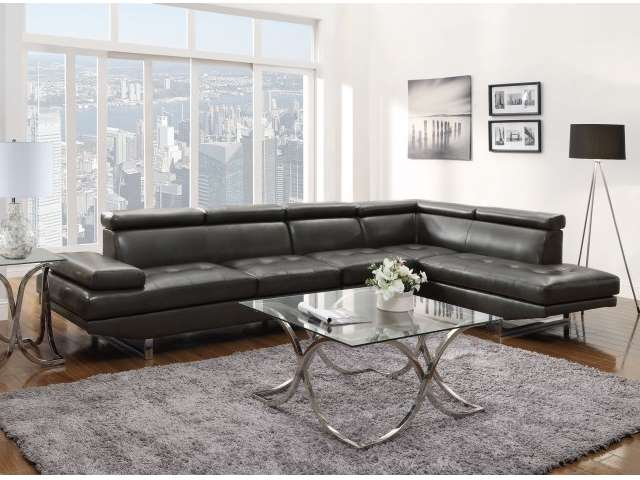 Metro Modern Design Charcoal Blended Leather Match Sectional : leather blend sectional - Sectionals, Sofas & Couches