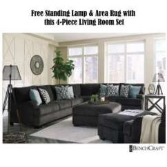 Finance Living Room Set Light Blue Grey Paint Furniture Buy Now Pay Later Financing Low Or Bad Free Standing Lamp And Area Rug With This 4 Piece Upholstered