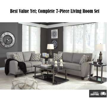 finance living room set beige carpet furniture buy now pay later financing low or bad best value yet 7 pc in steel gray upholstery
