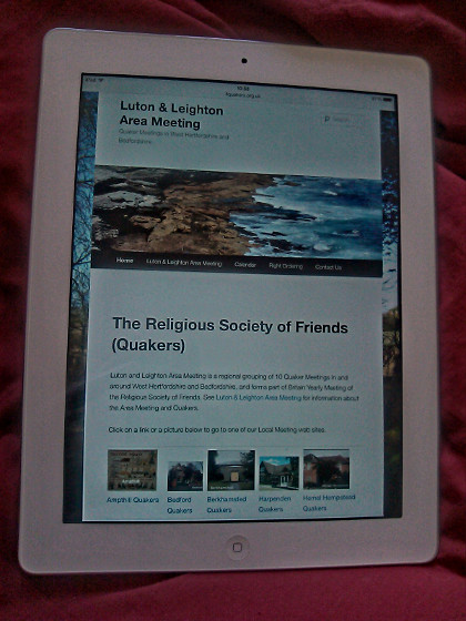 Luton Leighton Quaker website on a tablet