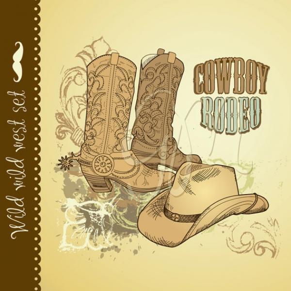 Hand Drawn Cowboy Card Graphics Clip Art Luvly