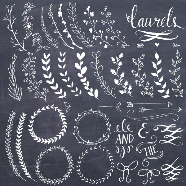 chalkboard laurels wreaths clip