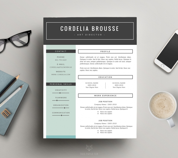 Creative Resume Design  Cover Letter for MS Word