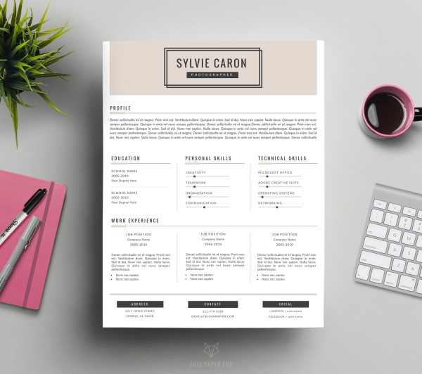 CV Template And Cover Letter For Word Sylvie Business