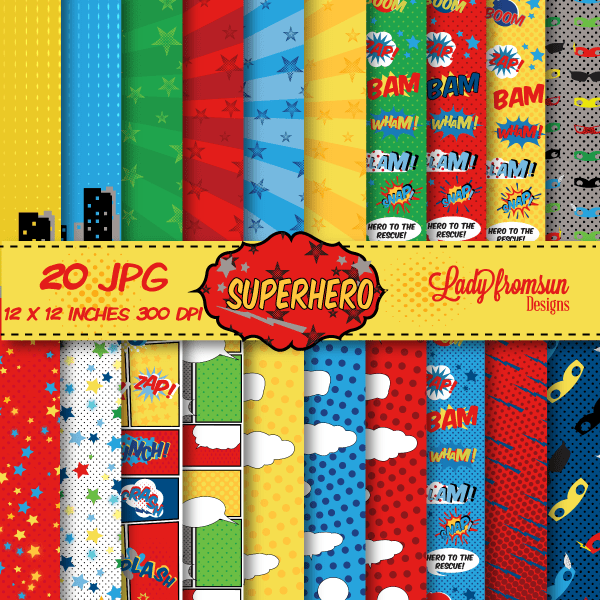 SuperHero Digital Paper Pack Comic Book PagesAction Words