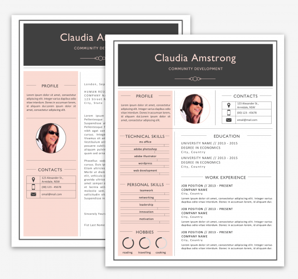 Pink & Grey Resume Pack Print Resumes Luvly