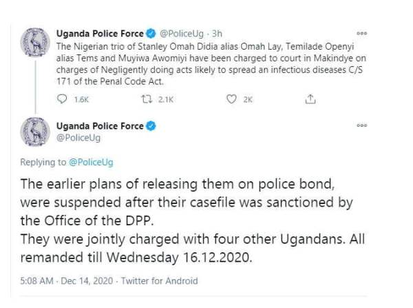 Plans to release Omah Lay and Tems based on Ugandan police bond suspended after their case file was sanctioned by the Office of the DPP