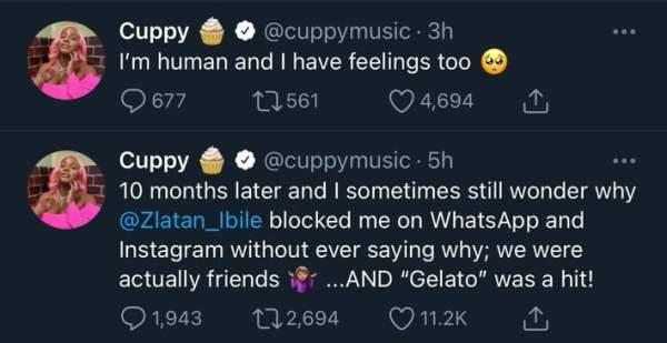 DJ Cuppy Laments As Zlatan Blocked Her On Instagram & Whatsapp For No Reason