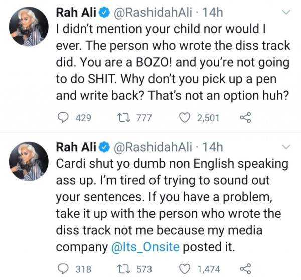 """Cardi B and her sister calls out Rah Ali after she allowed a fan rap about Cardi B's daughter and called her """"dirty"""""""