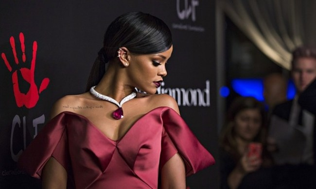 Photo Credit: Mario Anzuoni/Reuters - A coloured gem is worn by Rihanna at a 'diamond ball' fundraising event in Beverly Hills, California.