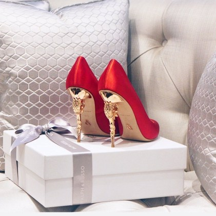 RED SATIN WITH ROSE GOLD HEEL - Curtesy of Ralph and Russo