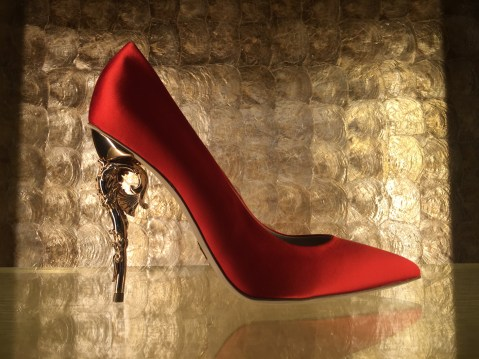 RED SATIN WITH ROSE GOLD HEEL - Curtesy of Emeline Nsingi Nkosi