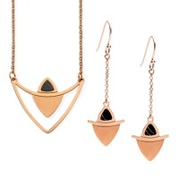 Rose Gold Lustrous Earrings and Necklace Set | LUXAH Gifts ...