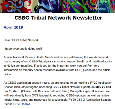 April 2019 CSBG Tribal Network Newsletter