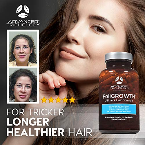 FoliGROWTH Ultimate Hair Nutraceutical - Get Thicker Hair CLINICAL HAIR GROWTH PRODUCTS RESULTS and Hair loss dietary supplements SINCE 2002 -FOR THICKER, STRONGER, AND FULLER HAIR. FoliGROWTH ULTRA HAIR VITAMIN by Superior Trichology is designed to naturally present all important nutritional vitamins and vitamins to the hair and scalp for optimum hair progress and superior fullness to the hair. The Foli-Progress Extremely Hair Vitamin has 28 herbs and nutritional vitamins which have proven to supply important hair diet that leads to thicker, fuller, and stronger hair. A lot greater than Hair Pores and skin and Nails Nutritional vitamins* Preferrred for each males and girls with: Thinning and Fantastic Hair Hair Breakage Dandruff Hair Loss Scalp irritation Since 2002, ADVANCED TRICHOLOGY merchandise have been utilized in clinics as the first dietary dietary supplements included in medical hair regrowth applications for males and girls that produce dramatic outcomes. BEST USED with different Superior Trichology merchandise for greatest-wanting hair.