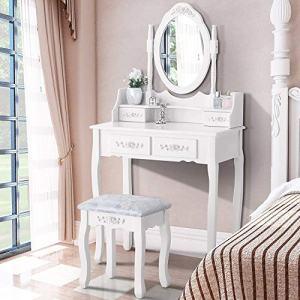 Vanity Makeup Dressing Table Set Stool 4 Drawer & Mirror Jewelry Wood Desk