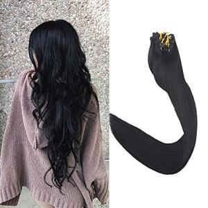 "Full Shine 14"" 9pcs Clip Hair Extensions Remy Human Hair Solid Color"
